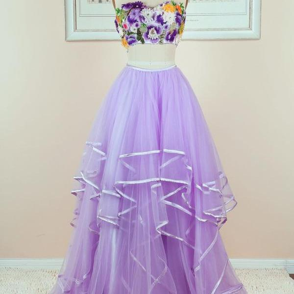 UNIQUE PURPLE TULLE TWO PIECES LONG PROM DRESS, PURPLE EVENING DRESS