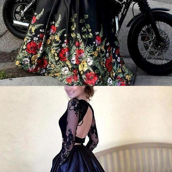 Two Piece Round Neck Long Sleeves Black Floral Satin Prom Dress with Lace,Cheap Evening Dress,Custom Made,Party Gown