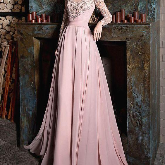 Beautiful Chiffon Jewel Neckline Long Sleeves A-line Prom Dress With Lace Appliques,Sexy Prom Dress,Cheap Evening Dress,Custom Made,Party Gown