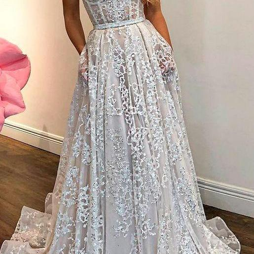 strapless long prom dress,sexy evening dress,charming evening dress,lace party dress