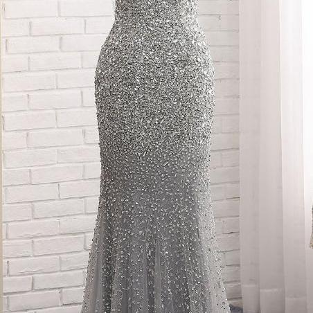 Fashion Mermaid Floor-Length Prom Dress with Full Beading,Long Formal Dress ,Sequin Party Dress