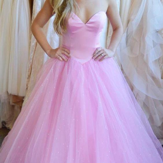 ball gown,tulle long prom dress, sweetheart prom dress, pearl pink prom dress