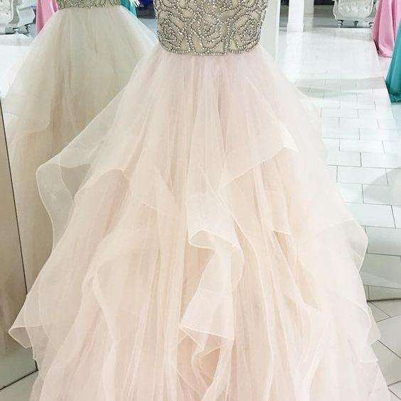 Princess Beads Pink Tulle Long Prom Dress, Ball Gown
