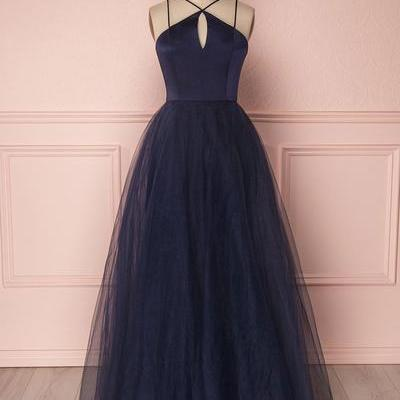Simple navy blue tulle open back long evening dress, prom dress