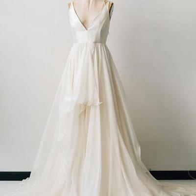 Spring white chiffon v neck long prom dress, white ruffles formal dress