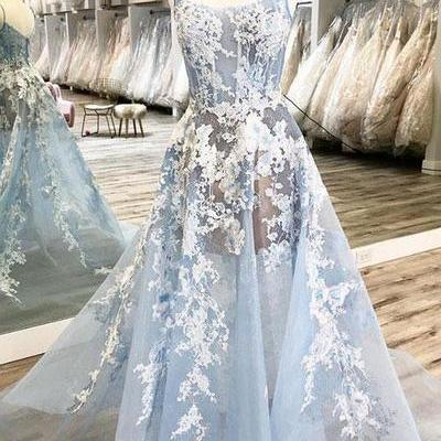 Blue tulle spaghetti long a line prom dress, lace evening dress