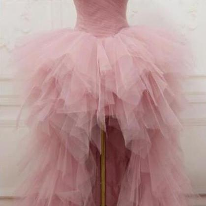sexy hi-low pink prom dress,high-low pink tulle party dress strapless homecoming dress