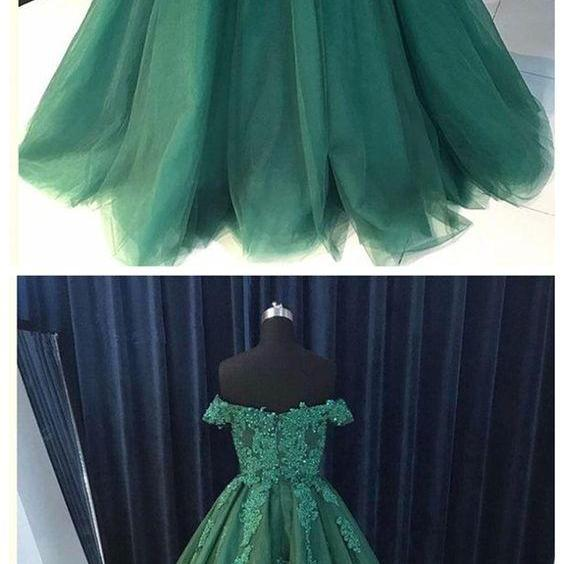 Off Shoulder Emerald Green Lace A line Long Custom Evening Prom Dresses